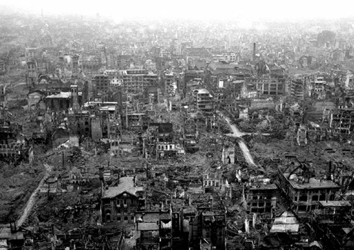 Damages resulting from bombing in a residential area of Cologne.