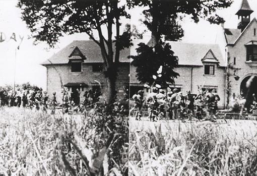 German troops surrendering at the Gate House, Varaville, 6 June 1944.