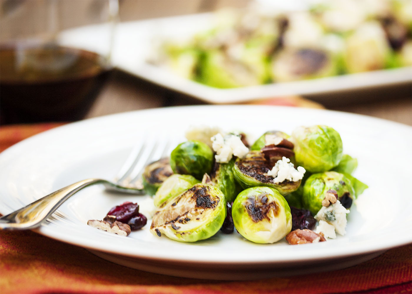 Chopped Brussels Sprouts With Dried Cranberries, Pecans & Blue Cheese ...