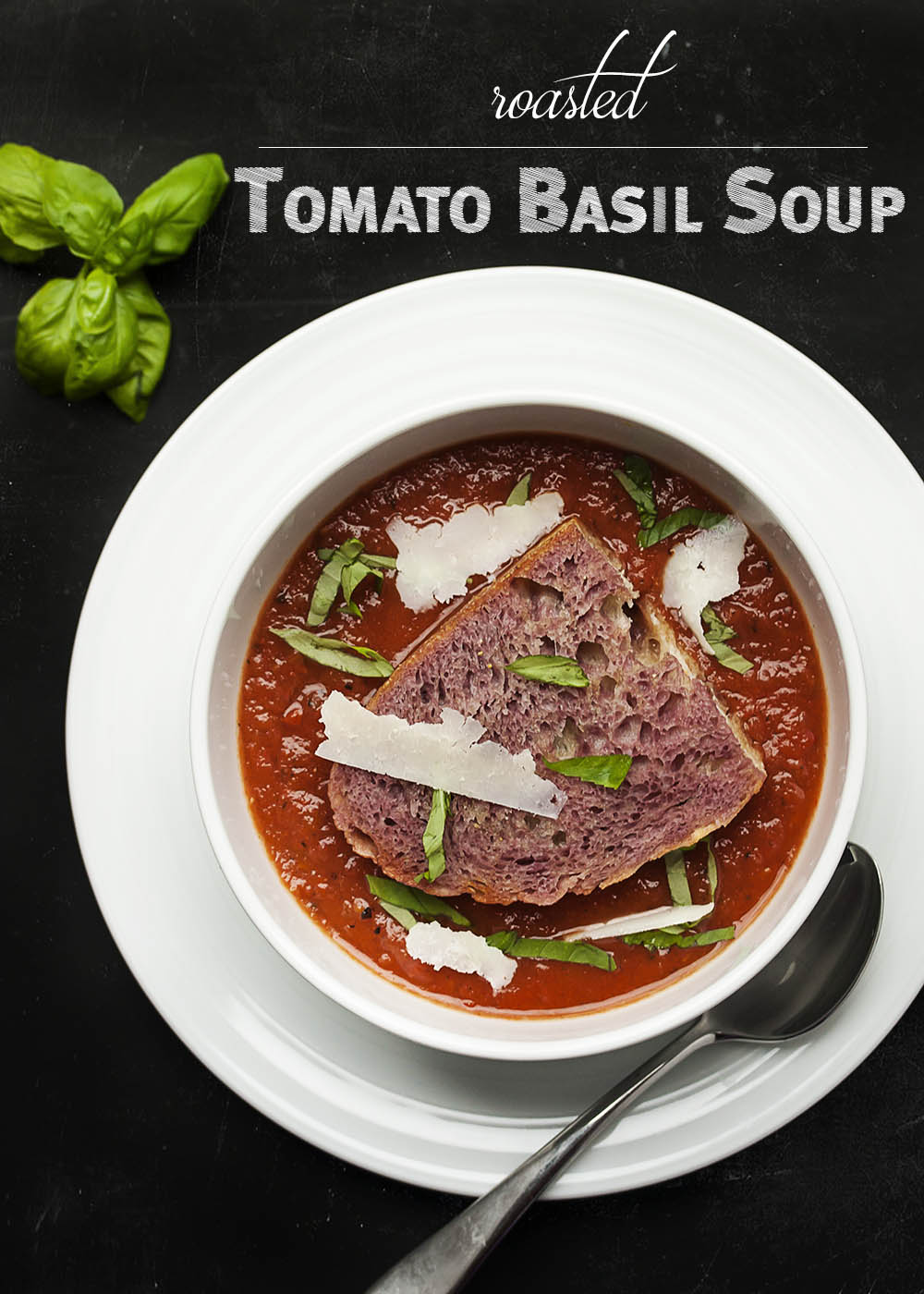 Roasted Tomato Basil Soup with a Wine Soaked Crouton - Just a Little ...