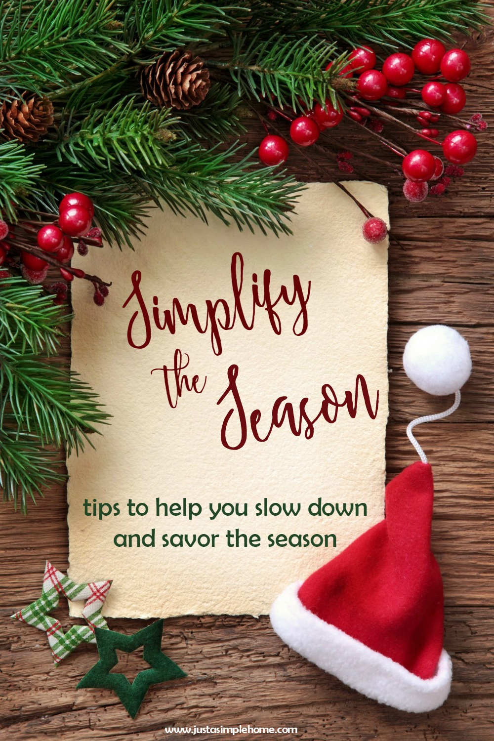 Simplify your Christmas season. Learn how to slow down and enjoy the holidays without stress.
