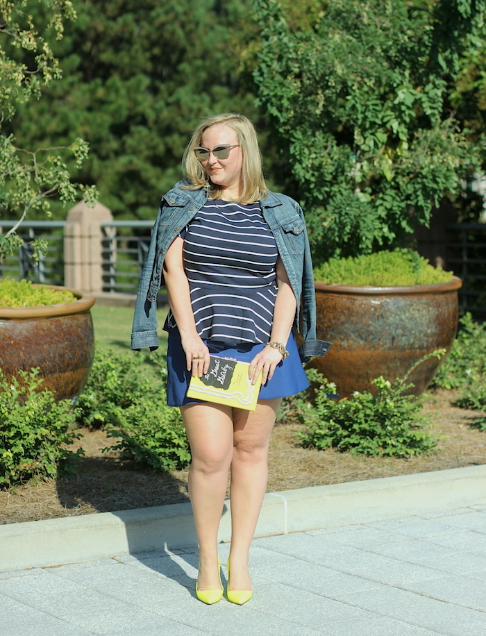 JCrew Ruffle Top Fluted Skirt Kate Spade Neon Yellow Pump Jenna Wessinger Atlanta Blogger Fall Outfit