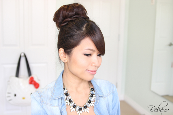 Rope Twist Sock Bun Updo Hairstyle