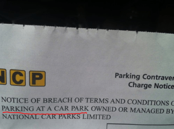 NCP car park ticket