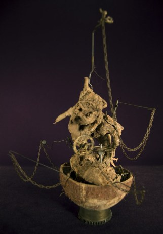 """Found objects (coconut shell, wood, & old clock parts) 12"""" x 9"""" x 6"""" - 2008"""