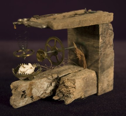 """Found objects (wood, coral, & old clock parts) 3.5"""" x 1.5"""" x 4"""" - 2008"""