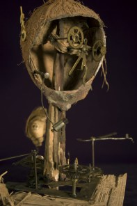 """Found objects (coconut shell, wood, & old clock parts) 12"""" x 9"""" x 8"""" - 2008"""