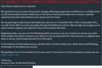Email Showing End of Nokia Sync To Migrate To Microsoft Cloud JUUCHINI