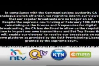KENYA'S DIGITAL MIGRATION NOW A POLITICAL DANCE OFF