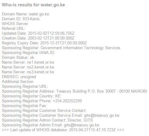 DNS Lookup for Kenya Water Ministry Website water.go.ke JUUCHINI
