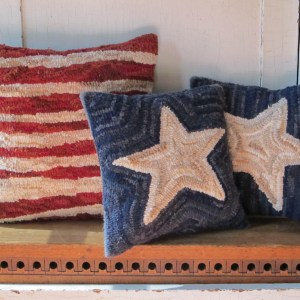 Stars and Striped Hooked Pillow Set