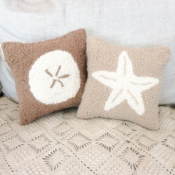Seaside Pillows Hooked with Cashmere