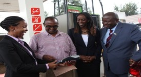 Barclays Kenya Lending Director Ann Kinuthia, Total Kenya MD Ada Eze and Visa EA  Country Manager with the first winner of the promotion Mr. Winston Senteu
