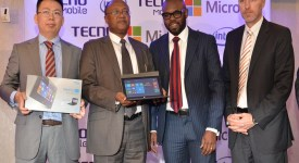 Tecno Dep. GM Steven Hang ( left), ICT PS Joseph Tiampati ( 2ndLeft), Microsoft EA GM Kunle Awosika and Intel GM Danie Steyn