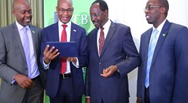 L - R KCB Group CFO Lawrence Kiambi, Group KCB Group CEO Joshua Oigara, KCB Group Chairman Ngeny Biwott and KCB CBO-MD Kenya Sam Makome