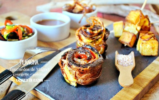 Tournedos magret courgette poivron plancha sauce ananas - Kaderick en Kuizinn