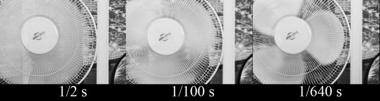 """Pokojowy wiatrak sfotografowany z różnymi nastawami parametru """"czas naświetlania"""""""