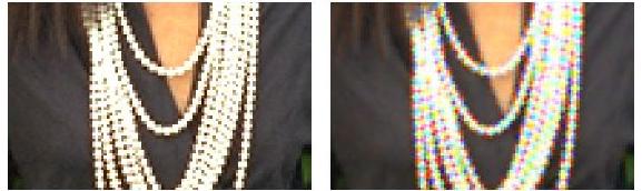 Przykład przekłamanych kolorów spowodowanych przez algorytm demosaicingu