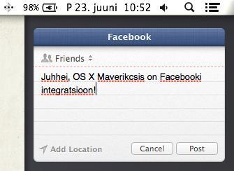 OS X Mavericks Facebooki integratsioon