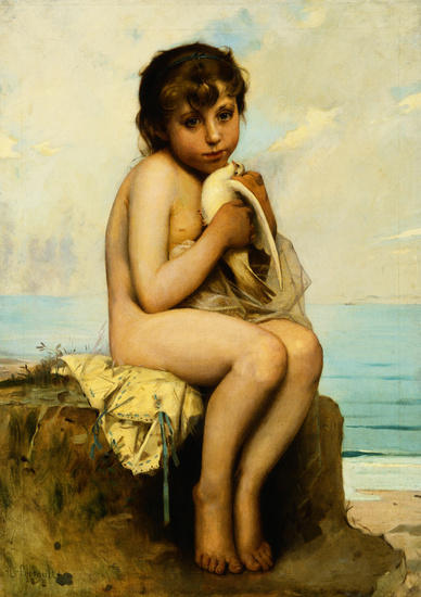 Bazile-Perrault-Nude-Child-with-Dove