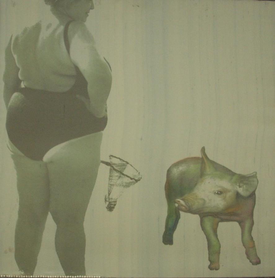 Florencia Martinez, Perle ai porci . 2007 - stampa su tessuto e pittura ad olio