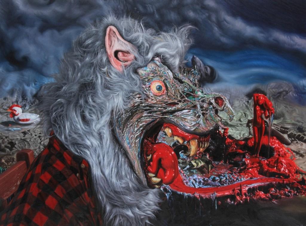 Ron English, wolf profile.ptg36x48_2