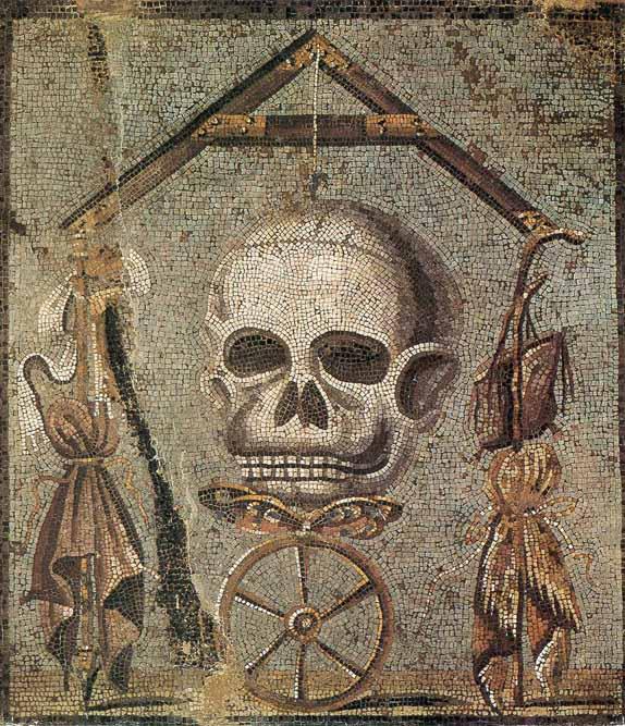 Mosaico di epoca romana con teschio. Napoli, Museo Archeologico Nazionale