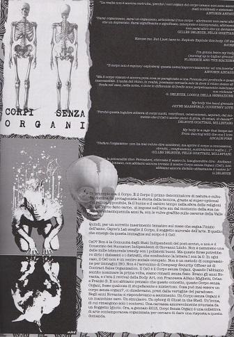 Fanzine Unknown Pleasures numero zero, Corpi Senza Organi, grafiche Francesca de Paolis, 2