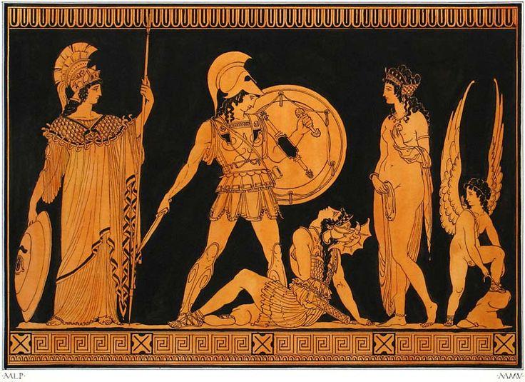 Achille uccide Pentesilea sulla piana di Troia, con Atena, Afrodite ed Eros, pittura vascolare a figure rosse, Grecia antica