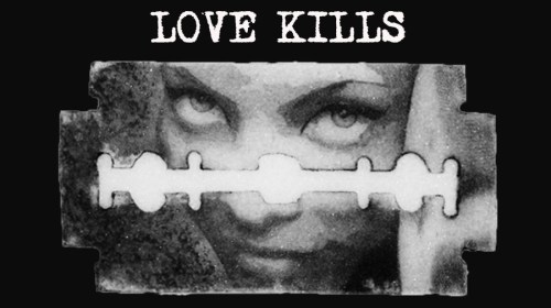 Flyer Love Kills, Elaborazioni grafiche Liquid Sky Prod.