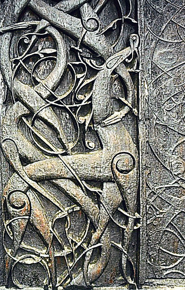Ragnarok, end of the world in the Nordic mythology, stranded snakes and dragons on the northern gate of stavkirke in Urnes, XI century