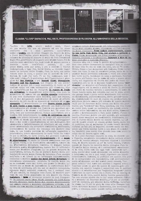 Fanzine Unknown Pleasures numero uno, Tu Quoque Punk - Claudia Lloyd, grafiche Valentina Mangieri, direz.artistica LST