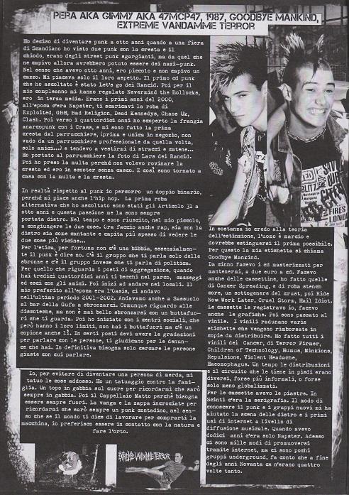 Fanzine Unknown Pleasures numero uno, Tu Quoque Punk - Pera, grafiche Valentina Mangieri, direz.artistica LST.