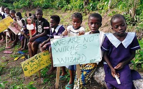 Children from Crarn accused of being witches and wizards, protesting outside the Governor's headquarters., Nigeria