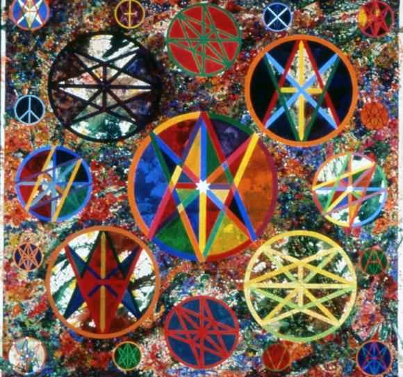 Jamie Reid. Universal Majesty Verity Love Infinite (1989) Gouache on unmounted canvas, 230cm x 230cm, Isis Gallery