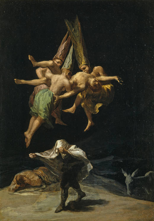 Goya, Witches' Flight, 1797-98. 43.5cm x 30.5cm, Museo del Prado, Madrid. of the set of six owned by the Duchess of Osuna.