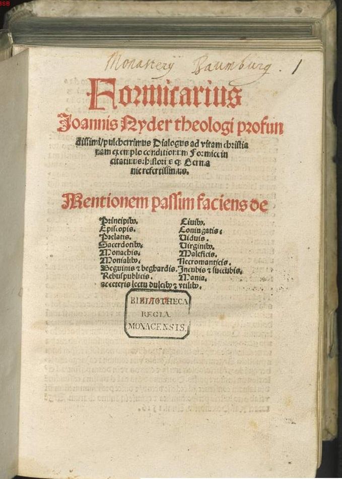 formicarius, johannes nider, 1435