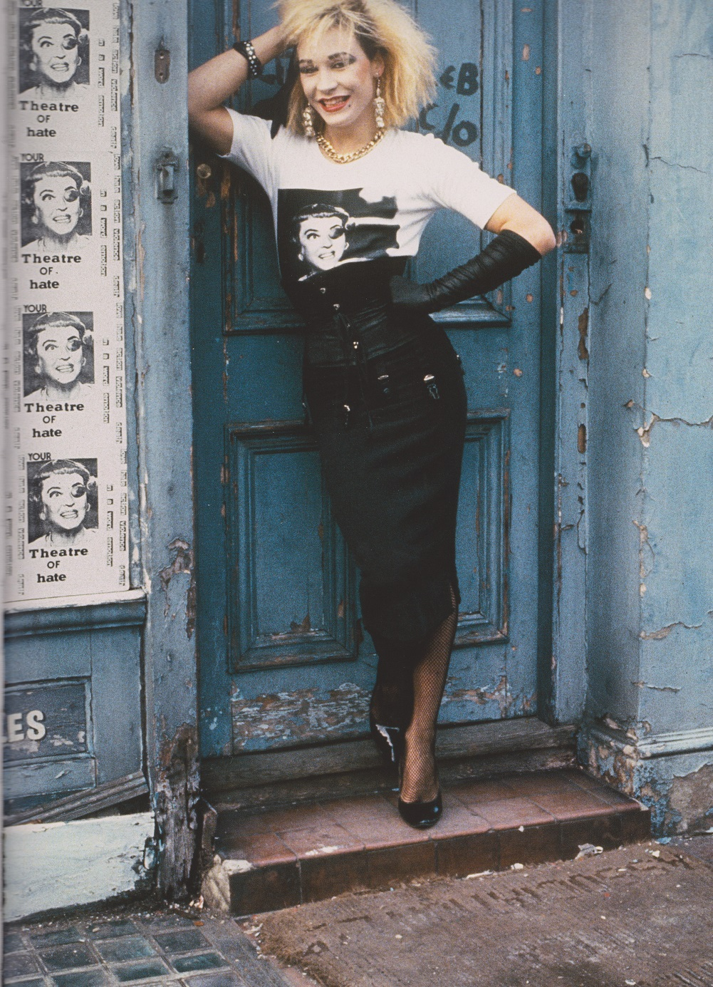 Derek Ridgers' London Youth, Marilyn outside Caburton Street squat, 1980