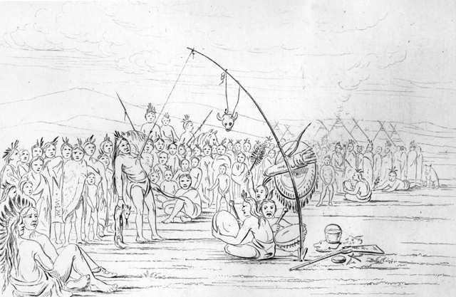 La danza del sole presso i Sioux. Incisione di George Catlin (1851)