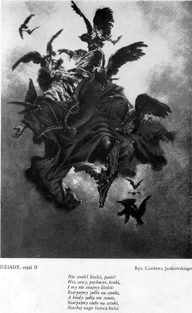 Ilustracja do dramatu pt. Dziady część II, rys. Czesław Jankowski