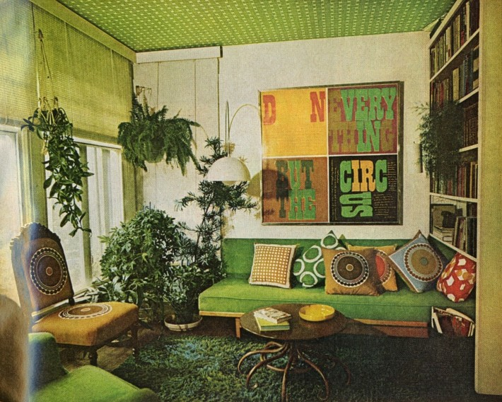 This gaudy and match match interior was found in a 1971 Better Homes & Gardens