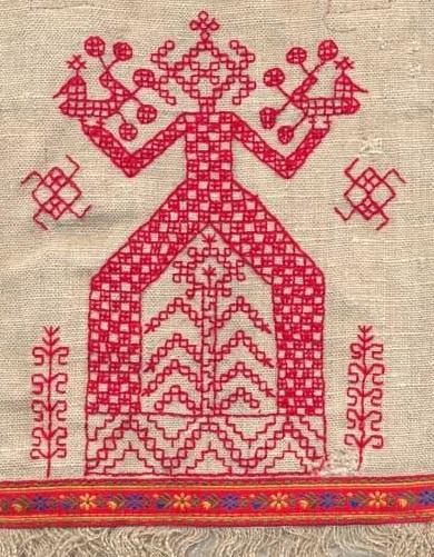 ricamo raffigurante l'antica dea slava Mokosz, divinità della terra, della morte, degli intrecci