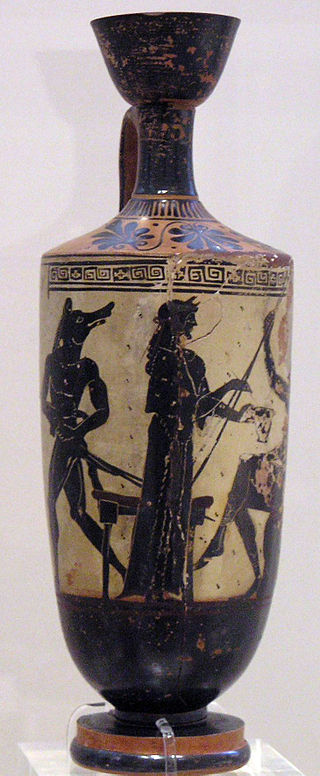 Circe and Odysseus, white-ground lekythos by the Athena Painter, ca. 490–480 BC. From Eretria. National Archaeological Museum in Athens, 1133., copyright Marsyas via wikipedia
