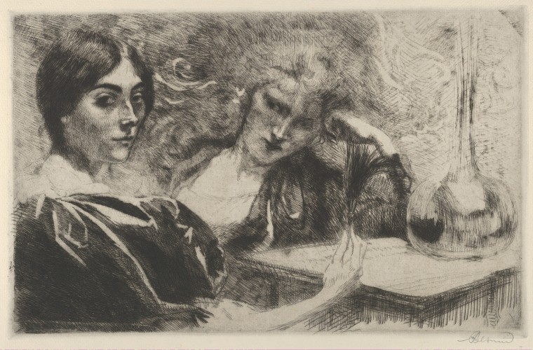 Paul-Albert Besnard (French, Paris 1849–1934 Paris) Morphine Addicts, 1887 French, 19th century Etching, only state; Image: 9 5/16 × 14 9/16 in. (23.7 × 37 cm) The Metropolitan Museum of Art, New York, The Elisha Whittelsey Collection, The Elisha Whittelsey Fund, 1967 (67.793.15) http://www.metmuseum.org/