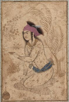 youth kneeling holding a wine cup 17s , persian art