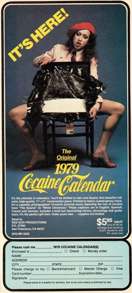 cocaine calendar