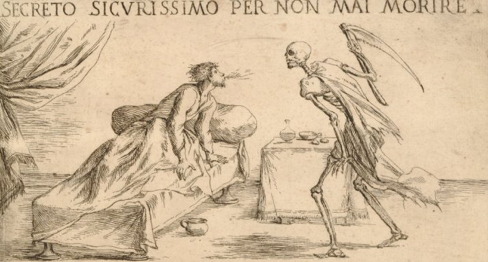Giuseppe Maria Mitelli, Death as a skeleton attacks with his scythe a man in bed who blows at him, 1706