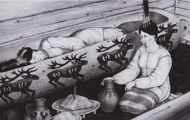sepoltura-ragazza-ukok-disegno-elena-shumakova-istituto-archeologia-ed-etnografia-filiale-siberiana-dell'accademia-russa-delle-scienze