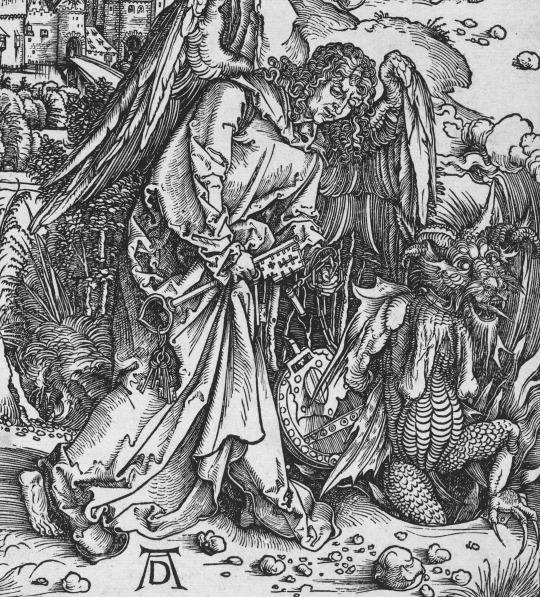 Albrecht Dürer (German, 1471 - 1528 ), The Angel with the Key to the Bottomless Pit, probably c. 1496/1498, woodcut, Rosenwald Collection