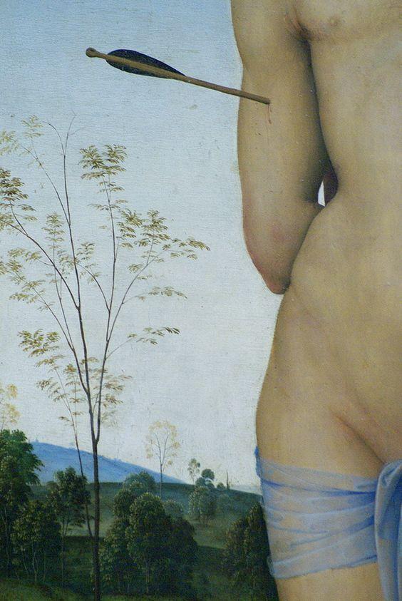 Detail. Saint Sebastian. Perugino. 1490.